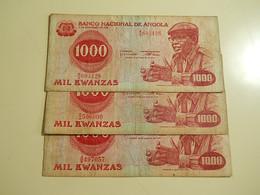 Lot 3 Banknotes 1000 Kwanzas 1979 Angola - Monete & Banconote