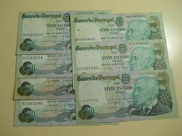 Lot 7 Banknotes 20 Escudos 1978 Portugal - Monete & Banconote