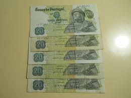 Lot 5 Banknotes 20 Escudos 1971 Portugal - Monete & Banconote