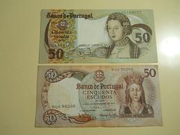 Lot 2 Banknotes 50 Escudos Portugal - Monete & Banconote