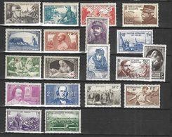 France  1940     Cat YT N° 451  à  469   N*  MLH    Année    Complète - Unused Stamps