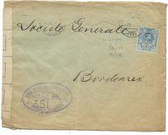 CORUNA 1915 /N° 248 Perforé BERP (BANCO ESPANOL DEL RIO DE LA PLATA) Pour Bordeaux CENSURE 351 - 1889-1931 Royaume: Alphonse XIII