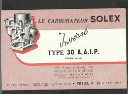 SOLEX Notice N° 39 De 1944 - Vieux Papiers
