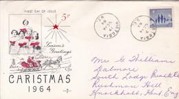CHRISTMAS, SEASON'S GREETING. FDC CANADA CIRCULEE VICTORIA TO BUENOS AIRES CIRCA 1964.- BLEUP - First Day Covers