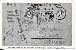 """Schweiz 1915: Bild-PK """"Fliegerpost Przemysl"""" (nachtaxiert) Mit Sonder-o ZÜRICH 14.V.15 BRIEFMARKENAUSSTELLUNG - Ganzsachen"""