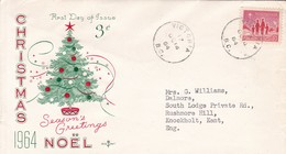 CHRISTMAS NOEL, SEASON'S GREETING. FDC CANADA CIRCULEE VICTORIA TO BUENOS AIRES CIRCA 1964.- BLEUP - First Day Covers