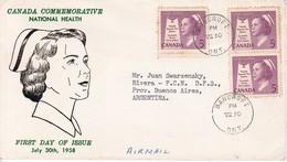 CANADA COMMEMORATIVE NATIONAL HEALT. FDC CANADA CIRCULEE BANCROFT TO BUENOS AIRES CIRCA 1958. AVEC BORD DU PLAQUE- BLEUP - 1952-1960