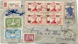 INDOCHINE LETTRE RECOMMANDEE PAR AVION DEPART CANTHO 3-5-48 COCHINCHINE POUR LA FRANCE - Indochina (1889-1945)