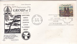 50TH ANNIVERSARY OF THE GROU7P OF 7 CANADIAN ARTIST. FDC CANADA CIRCULEE OTTAWA TO BUENOS AIRES CIRCA 1970.- BLEUP - First Day Covers