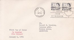 6c REGULAR, NEW COLOUR. FDC CANADA CIRCULEE OTTAWA TO BUENOS AIRES CIRCA 1970.- BLEUP - First Day Covers