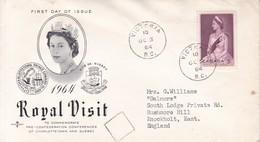 ROYAL VISIT. PRINCE EDWARD ISLAND. FDC CANADA CIRCULEE VICTORIA TO BUENOS AIRES CIRCA 1964.- BLEUP - First Day Covers