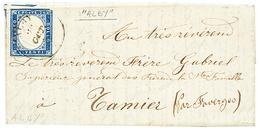 """271 """"ALBY"""" : 1858 SARDAIGNE 20c(pd) Obl. Cachet Sarde Rarissime ALBY Sur Lettre Avec Texte Pour TAMIER. GRANDE RARETE De - Publishers"""