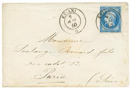 276 1860 FRANCE 20c(n°14) Filet Effleuré à Gauche Obl. Cachet Sarde EVIAN Sur Env. Pour PARIS. TB. - Publishers