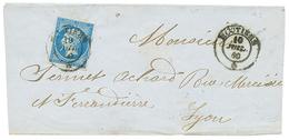 """278 """"MOUTIERS"""" : 1860 FRANCE 20c(n°14) TTB Margé Obl. Cachet Sarde MOUTIERS Sur Lettre. Superbe. - Publishers"""