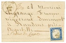 """279 """"LE PLOT"""" : 1860 SARDAIGNE 20c Léger Pli Mais 4 Grandes Marges Obl. Cachet Rarissime LE PLOT Sur Lettre Pour AIGUEBE - Publishers"""