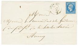 "284 ""SEYSSEL"" : 1860 FRANCE 20c(n°14) TB Margé Obl. Cachet Sarde SEYSSEL Sur Lettre. Rare. TB. - Publishers"