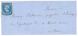 """285 """"SALLANCHES"""" : 1860 FRANCE 20c(n°14) TTB Margé Obl. Cachet Sarde SALLANCHES Sur Lettre. Rare. Superbe. - Publishers"""