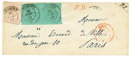 289 1853 SARDAIGNE 40c(déf) + Paire 5c(1 Ex. TTB Et 1 Ex. Avec Défaut) Obl. THONON , Pour PARIS. B/TB. - Publishers