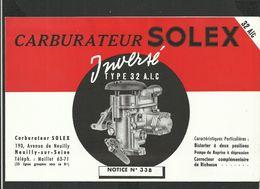 SOLEX Notice N° 33 B - Old Paper