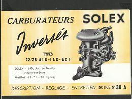 SOLEX Notice N° 38A - Vieux Papiers