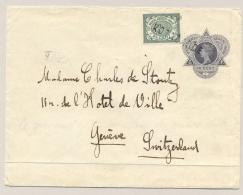 Nederlands Indië - 1911 - 2,5 Cent Cijfer Op Envelop Van L KOTABAROE Via VK BANDJERMASIN Naar Geneve / Schweiz - Nederlands-Indië
