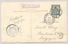 Nederlands Indië - 1910 - 2,5 Cent Cijfer, Ansicht GR BATAVIA Via GR A'dam-Antwerpen Naar België - Kolff / Molenvliet - Nederlands-Indië