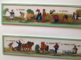 4 Plaques Anciennes Pour Lanterne Magique - Agriculture - Travaux Des Champs En 1880 :laboureur, Fenaison, Moisson,herse - Jouets Anciens