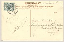 Nederlands Indië - 1910 - 2,5 Cent Cijfer, Ansicht GR BATAVIA Naar België - Visser - Inlandsche Terechtzitting - Nederlands-Indië
