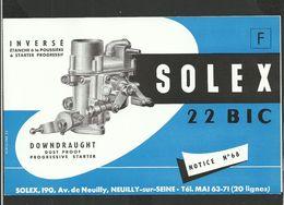SOLEX Notice N° 68 - Vieux Papiers