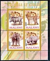 Malawi 2008 M/S Cinderella Issue Stamps Africa Animals Mammals Elephant Leopard Fauna Rhinoceros Nature MNH Perforated - Malawi (1964-...)