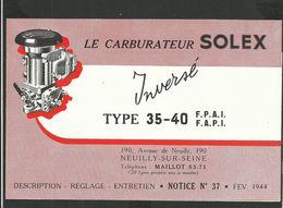 SOLEX Notice N° 37 De 1944 - Vieux Papiers