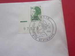 Lettre Timbre LIBERTÉ 975 SAINT PIERRE-MIQUELON Cachet Commémoratif-04-02-1986-First Day Cover FDC-Premier Jour-1er Jour - Lettres & Documents