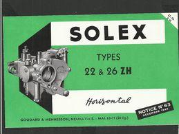 SOLEX Notice N° 63 De 1948 - Vieux Papiers