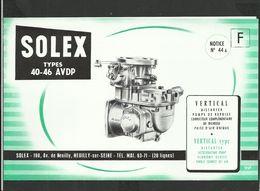 SOLEX Notice N° 44A - Vieux Papiers