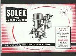 SOLEX Notice N° 73 - Vieux Papiers