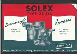 SOLEX Notice N° 64A - Vieux Papiers