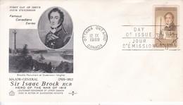 MAJOR GENERAL SIR ISAAC BROCK KCB. FDC CANADA OTTAWA CIRCA 1969. - BLEUP - 1952-1960