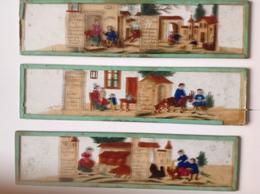 Plaques Anciennes Pour Lanterne Magique - La Vie à La Ferme En 1880 - Rare Suite Complète En 12 Plaques - Jouets Anciens