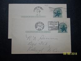 USA: 1929 & 1930 Postal Cards To Raleigh, N.C. (#AG1) - Ganzsachen