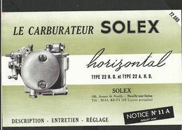 SOLEX Notice N° 11A Juillet 1946 - Vieux Papiers