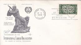 50 ANNIVERSARY OF THE INTERNATIONAL LABOUR ORGANIZATION. FDC CANADA OTTAWA CIRCA 1969. - BLEUP - 1952-1960
