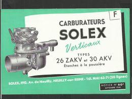 SOLEX Notice N° 60A - Vieux Papiers