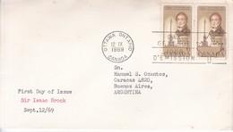 SIR ISAAC BROCK. FDC CANADA OTTAWA CIRCA 1969. CIRCULEE BUENOS AIRES. - BLEUP - First Day Covers