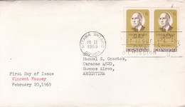 VINCENT MASSEY. FDC CANADA OTTAWA CIRCA 1969. CIRCULEE BUENOS AIRES. - BLEUP - First Day Covers