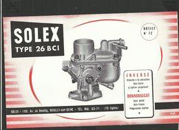 SOLEX Notice N° 72 - Vieux Papiers