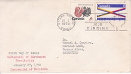 CENTENNIAL OF NORTHWEST TERRITORIES. FDC CANADA OTTAWA CIRCA 1970. CIRCULEE BUENOS AIRES. - BLEUP - First Day Covers