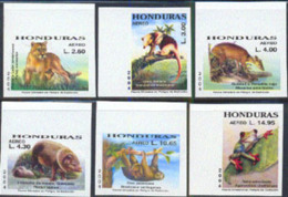 Honduras (1994) Mountain Lion. Anteater. Red Brocket Deer. Collared Peccary. 3-toed Sloth. Tree Frog. Collection Of 6 Ma - Honduras