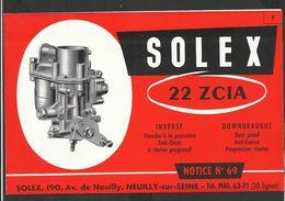 SOLEX Notice N° 69 - Vieux Papiers