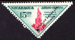 Nicaragua (1947) Ruben Dario Monument. Overprinted SPECIMEN And Printed In Different Color Than Issued Stamp. Scott No C - Nicaragua