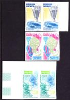 Gabon (1983) Balloons. Set Of 3 Imperforate Pairs.  Scott Nos C258-60.  Yvert Nos PA256-8. Bicentennial Of First Balloon - Gabon